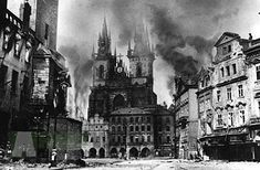 May 1945 - Old Town in fire - Prague Uprising against German Nazi occupation of Czechia. Prague Architecture, Dramatic Photos, Prague Czech Republic, Old Town Square, Historical Pictures, World War Two, Old Photos, Wwii, Endless Night