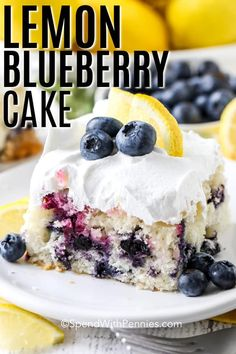 This easy lemon blueberry cake recipe is made using fresh blueberries. They are baked in a moist lemon coffee cake and drizzled with a lemon glaze. This homemade dessert is an easy made from scratch recipe that everyone loves! Lemon Dessert Recipes, Homemade Desserts, Delicious Desserts, Cake Recipes, Lemon Recipes, Homemade Recipe, Sweets Recipes, Healthy Desserts, Best Ever Chocolate Cake