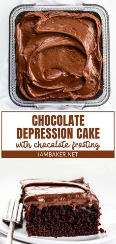 Chocolate Depression Cake {with Chocolate Frosting} Easy Chocolate Desserts, Delicious Chocolate, Chocolate Recipes, Easy Desserts, Delicious Desserts, Homemade Chocolate Frosting, Chocolate Bowls, French Desserts, Chocolate Decorations