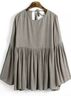 Grey Plain Pleated Round Neck Casual Cotton Blouse