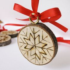 Christmas Ornaments - Snowflake on tree slices, hand wood burned