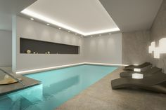 Want indoor swimming pool concepts? Try out huge photograph gallery showcasing 52 cool indoor swimming pool designs. If you wish to swim year-around, an incredible choice is an indoor pool. Luxury Swimming Pools, Luxury Pools, Indoor Swimming Pools, Swimming Pool Designs, Lap Pools, Backyard Pools, Dream Pools, Lap Swimming, Pool Landscaping