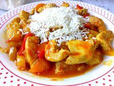Φιλέτο κοτόπουλου με χρωματιστές πιπεριές και μακαρόνια Food And Drink, Sweets, Lunch, Chicken, Meat, Dinner, Cooking, Recipes, Cactus
