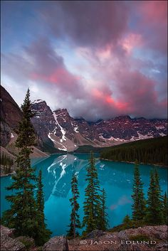 Pink and Blue, Moraine lake sunrise, Alberta, Canada. I have been there and it is truelly the most beautiful place I've ever seen.