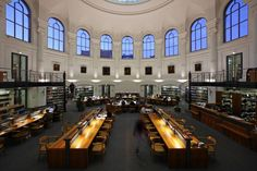The University Library, Liepzig, Germany. Begun in 1542 by Rector Caspar Borner. In 1891, the library moved to its current building, an exquisite neo-Renaissance design.