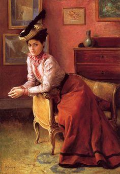 """Elegante Au Sofa"", 1895, by Julius LeBlanc Stewart (French, 1855-1919)"