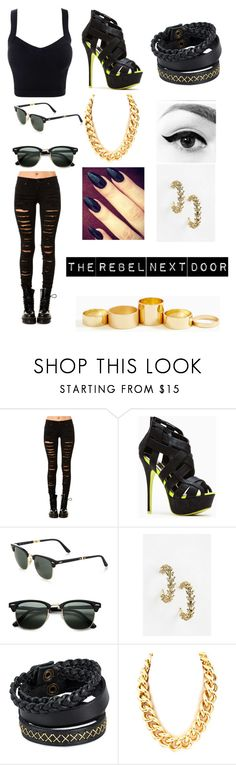 """""""the rebel next door"""" by rania-horan ❤ liked on Polyvore featuring Tripp, Liliana, Ray-Ban, Luv Aj and Pieces"""