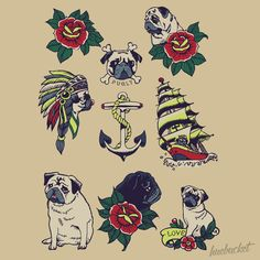 Pugs and the Sea {id 359} by Huebucket