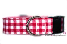BENTLEY: Collier pour Chien Carreauté rouge et blanc Urban Rose Dog Boutique #collier #chien #coloré #carreaux #campagnard