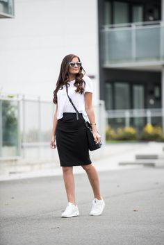 Jeanette Sundøy - By Malene Birger - Asfvlt sneakers - Quay - Outfit - Black and white Malene Birger, Street Chic, Leather Skirt, Black And White, Sneakers, Skirts, Outfits, Inspiration, Women