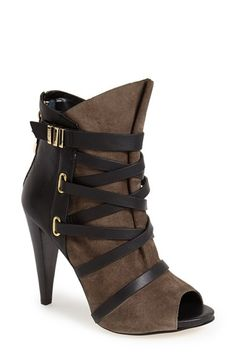 Free shipping and returns on GUESS 'Candie' Peep Toe Leather Bootie (Women) at Nordstrom.com. Sleek leather straps provide subtle contrast to the smooth suede of a dramatic peep-toe bootie.