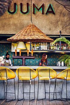 Luuma cocktail bar on Isla Holbox, an island on the coast north of Tulum Architecture Restaurant, Restaurant Interior Design, Cafe Interior, Outdoor Restaurant Design, Mexican Restaurant Design, Decoration Restaurant, Deco Restaurant, Eclectic Restaurant, Beach Club