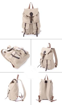 Hot Sale Canvas Leather Backpack, Waxed Canvas Shoulder Bag School Backpack