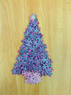 Christmas Tree made from Jigsaw Puzzle pieces with sequin decorations
