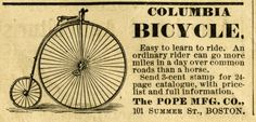 Columbia bicycle, steampunk bicycle graphics, antique bike illustration, vintage magazine advertisement, black and white bike clipart