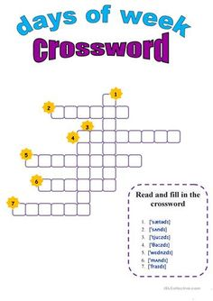 Days of the week, crossword worksheet - Free ESL printable worksheets made by teachers Teaching Jobs, Student Learning, Writing Games For Kids, Literacy And Numeracy, English Lessons, Reading Skills, Printable Worksheets, Crossword, Learn To Read