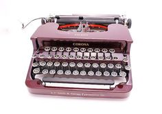 1930s Maroon Smith Corona Silent Typewriter with owners manual