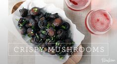 Crispy Mushrooms -- But of course!  Doesn't it seem like just about any food item tastes better roasted (over boiling, frying or zapping)?  LOVE this idea!