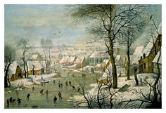 A Winter Landscape with Skaters and a Bird Trap Art Print - Peter Bruegel The Younger