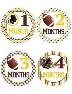 Washington Redskins Baby Milestone Stickers ~  Baby Belly Stickers (350) - http://baby.goshoppins.com/announcements-keepsakes/washington-redskins-baby-milestone-stickers-baby-belly-stickers-350/