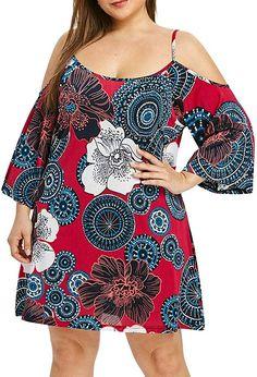 Transer- Plus Size Off Shoulder Printed Dress S Long Sleeve Round Neck Mini Shirt Dresses Purple Plus Size Dresses, Big Size Dress, Dress Shirts For Women, Suits For Women, Clothes For Women, Plus Size Womens Clothing, Plus Size Fashion, Floral Sheath Dress, Boho Dress