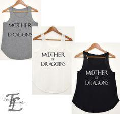 MOTHER OF DRAGONS SLOGAN GAME OF THRONES PRINT LADIES VEST/TANK-TOP GREAT VALUE  £6.99