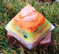 Flourescent Rainbow Large Orgone Energy Pyramid by TwoChez on Etsy, $65.00