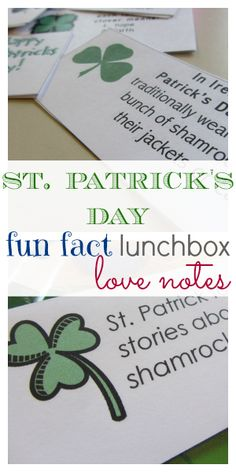 st. patrick's day fun fact lunchbox love notes | literacy | teachmama.com