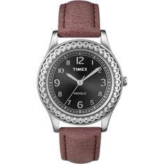 Timex Women's T2N6589J Purple Distressed Leather Strap Watch