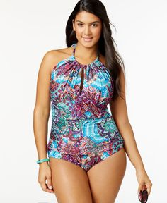 Kenneth Cole Reaction Plus Size Printed Halter One-Piece Swimsuit