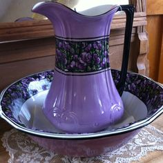 The prettiest pitcher and bowl by Meakin , found at Another Look in Massachusetts .