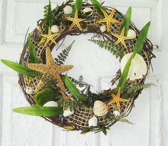 pictures+of+nautical+wreaths | Seashells Wreath Beach Home Decor Nautical Wreath by gigigibson, $36 ...