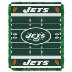 """New York Jets NY baby blanket. Adorable New York Jets NY baby blanket or throw that you and your kids will love! This 36"""" x 46"""" woven throw has decorative fringes on all four sides and is made of soft, yet durable 100% High Bulk Acrylic. It's easy to care for and holds up well even after repeated machine washing. The weaving process used in our triple jacquard allows for pure team colors, perfect for the little fan."""