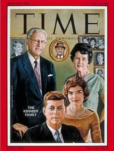Front cover of Time magazine dated July 1960 featuring The Kennedy Family. Family portrait illustration of Joe Kennedy, Rose Kennedy, Jack Kennedy, and Jackie Kennedy. Jackie Kennedy, Robert Kennedy, Jaqueline Kennedy, Time Magazine, Magazine Covers, Die Kennedys, Familia Kennedy, John Fitzgerald, Drame