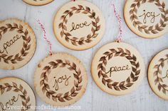 Make these beautiful DIY wood burned ornaments for your Christmas tree this year. They are easy to make and will add a bit of a rustic flair to your holiday decor. Since they are handmade, they make a thoughtful gift for friends or family. Wood Ornaments, Handmade Ornaments, Christmas Tree Ornaments, Ornament Crafts, Wood Burning Tool, Wood Burning Patterns, Christmas Wood, Christmas Crafts, Christmas Ideas