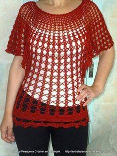 blusas a crochet manga murcielago con patrones ile ilgili görsel sonucu Crochet Tunic Pattern, Crochet Cape, Crochet Blouse, Crochet Shawl, Knit Patterns, Diy Crafts Crochet, Rainbow Crochet, Crochet Fashion, Beautiful Crochet