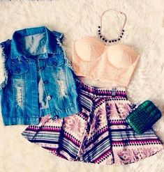 destroyed denim vest, bustier tube top, fair isle printed skater skirt