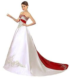Snowskite Womens Strapless Satin Embroidery Wedding Dress 24 IvoryRed ** You can find more details by visiting the image link.