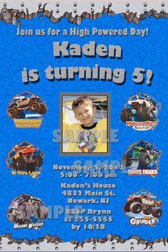 Monster Jam 3D or Monster Truck Custom Photo Birthday Party Invitations