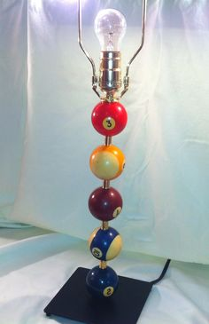Pool ball lamp- a fun way to add color and numbers