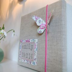 Sew Sweet Violet ..... personalised new baby canvas