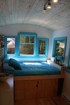 Caravan interior, storage under the bed