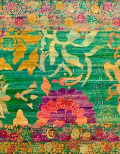 DK's Bow-K - DK Designs Brazilian Embroidery pattern & fabric - Embroidery Design Guide Textile Patterns, Color Patterns, Print Patterns, Brazilian Embroidery, Motif Floral, Floral Rug, Magic Carpet, Oeuvre D'art, Vintage Rugs