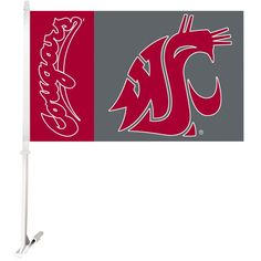 Ncaa 11 in. x 18 in. Washington State 2-Sided Car Flag with 1-1/2 ft. Plastic Flagpole (Set of 2)