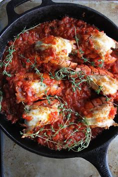 Spicy Tomato Broiled Lobster