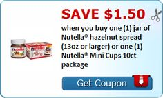Save $1.50 when you buy one (1) jar of Nutella® hazelnut spread (13oz or larger) or one (1) Nutella® Mini Cups 10ct package : #CouponAlert, #Coupons, #Printablecoupons Check it out here!!