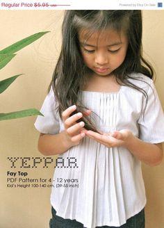 Memorial SALE PDF Pattern  Fay Top for 4  10 years old par yeppar, $5.06