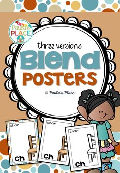 These Blend Posters are available in three versions – the third version one can be copied onto coloured card stock. Use these posters to record words that begin with the blend pictured on each poster. Display in your classroom and add when you find new words. 121 pages for $3.50! http://designedbyteachers.com.au/marketplace/blend-posters/