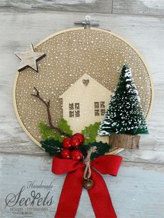 32 Nice Christmas Rustic Ornaments For Home Decoration Modern Christmas Ornaments, Indoor Christmas Decorations, Ribbon On Christmas Tree, Christmas Fun, Christmas Wreaths, Easy Homemade Christmas Gifts, Christmas Embroidery, Diy Embroidery, Christmas Interiors