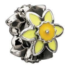 Chamilia Sterling Silver Enamel Daffodil Bead